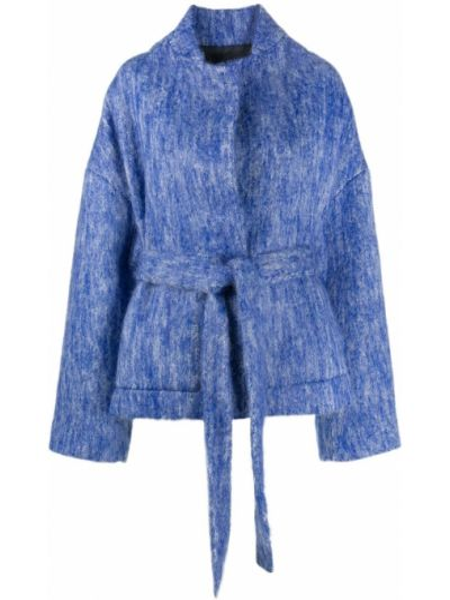 Свободная синяя куртка с запахом Christian Wijnants