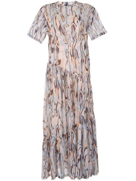 Синее платье миди с вырезом с короткими рукавами из вискозы G.v.g.v.