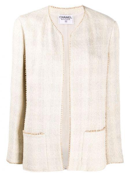 Шерстяная бежевая длинная куртка с карманами Chanel Pre-owned