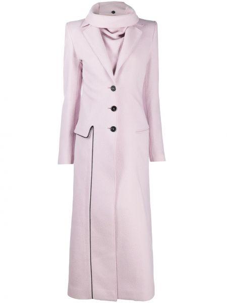 Розовое шерстяное длинное пальто с карманами Ssheena