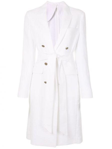 Белое длинное пальто с капюшоном двубортное Eleventy