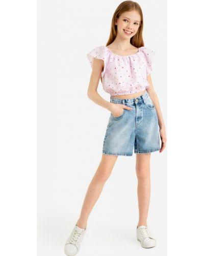 С завышенной талией синие джинсовые шорты с карманами Gloria Jeans