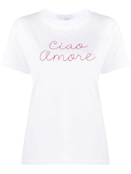 Белая прямая футболка с вышивкой с круглым вырезом Giada Benincasa