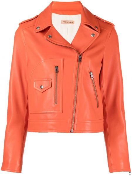Оранжевая кожаная короткая куртка на молнии Yves Salomon
