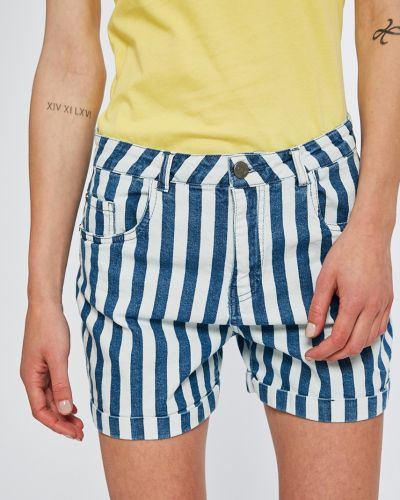 Джинсовые шорты с завышенной талией синий Noisy May