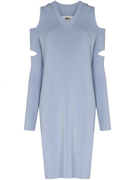 Синее платье макси с длинными рукавами из вискозы Mm6 Maison Margiela