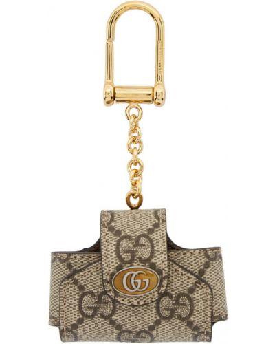 Skórzany brązowy etui na klucze na hakach Gucci