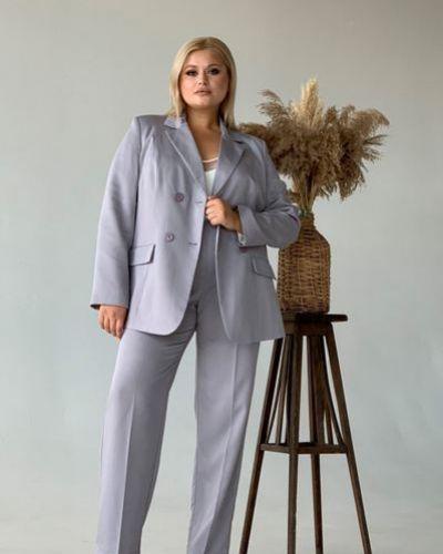 Серый приталенный костюм классический оверсайз Vovk