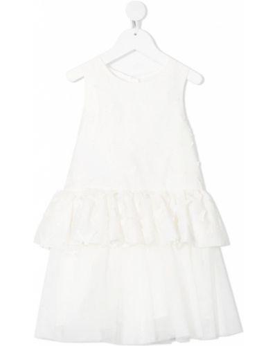 Biała sukienka rozkloszowana bez rękawów Charabia