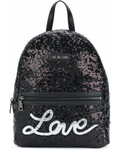 Кожаный рюкзак с пайетками из полиэстера Love Moschino