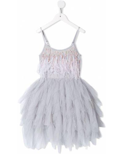 Серое пышное платье из фатина с вырезом на бретелях Tutu Du Monde