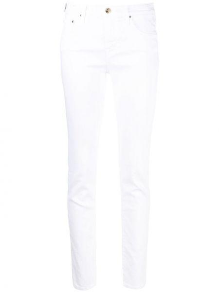 Хлопковые облегающие белые укороченные брюки Jacob Cohen