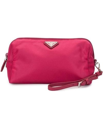 Нейлоновая розовая косметичка с карманами на молнии Prada Pre-owned