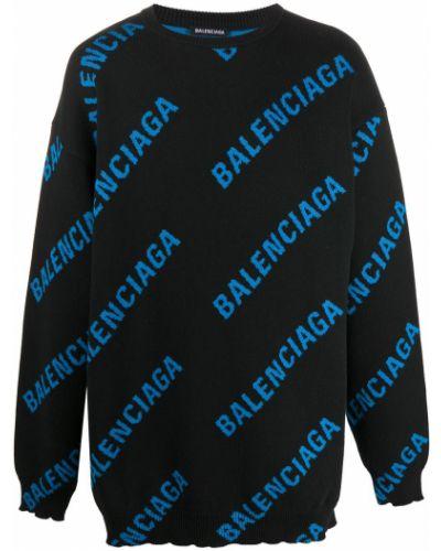 Bawełna bawełna czarny skoczek z długimi rękawami Balenciaga