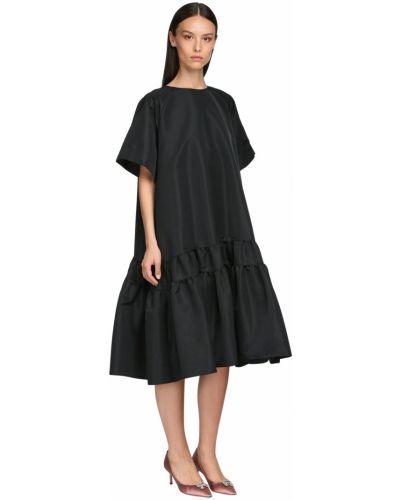 Черное платье миди с декольте с короткими рукавами Rochas