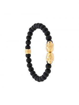 Czarna złota bransoletka ze złota pozłacana Northskull