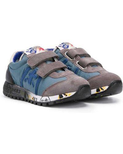 Синие кожаные кроссовки с заплатками Premiata Kids