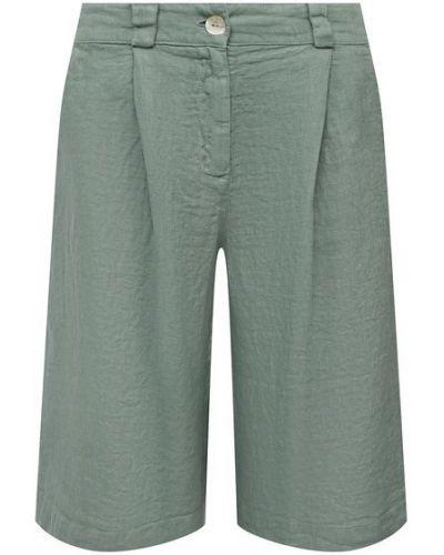 Льняные шорты - зеленые La Fabbrica Del Lino