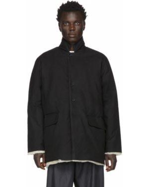 Теплая черная длинная куртка с манжетами с опушкой Camiel Fortgens