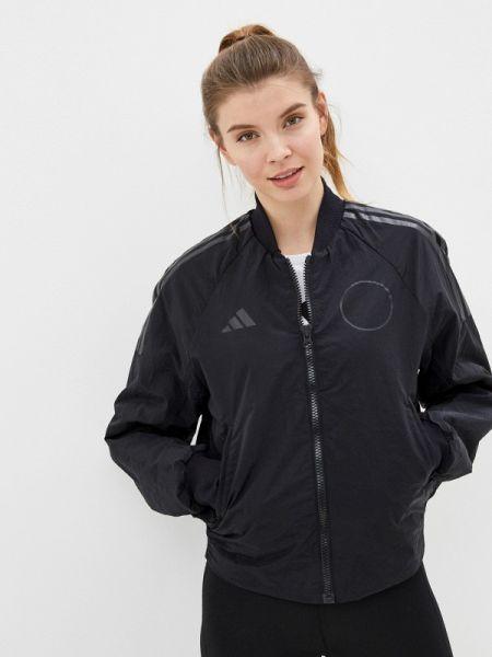 Утепленная куртка черная весенняя Adidas