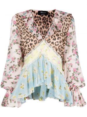 Шелковая ажурная блузка с баской Blumarine