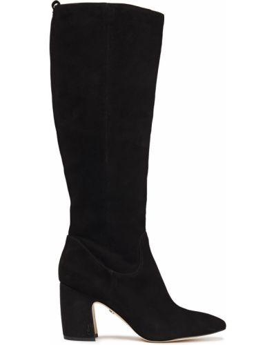Черные замшевые сапоги на шпильке на каблуке Sam Edelman