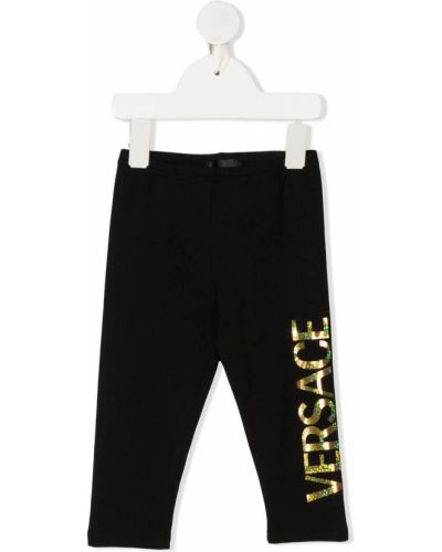 Czarne legginsy bawełniane z printem Young Versace