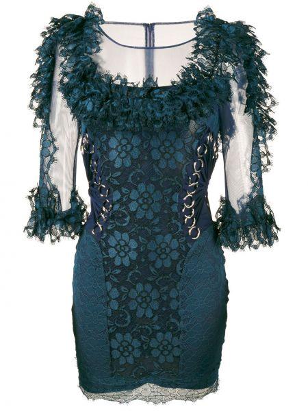 Платье мини ажурное синее Christopher Kane