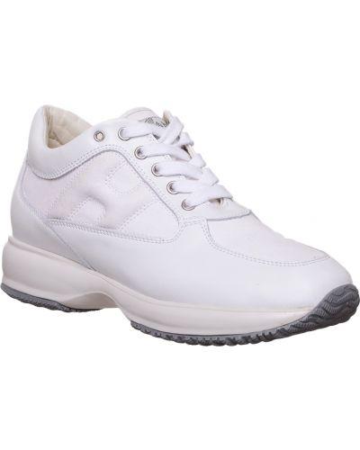 Кожаные кроссовки - белые Hogan