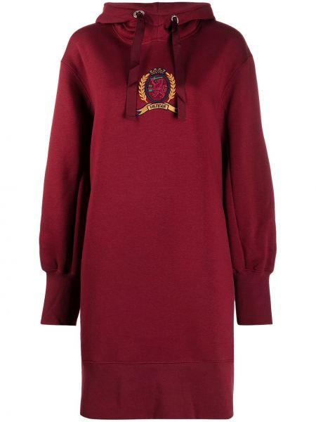 Хлопковое красное классическое платье с рукавами с капюшоном Hilfiger Collection
