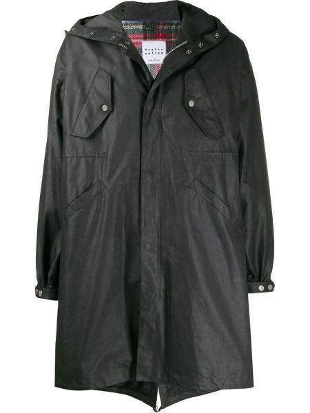 Czarny płaszcz z kapturem z długimi rękawami Raglan United