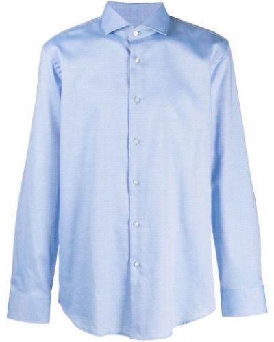 Niebieska koszula bawełniana z długimi rękawami Hugo Boss