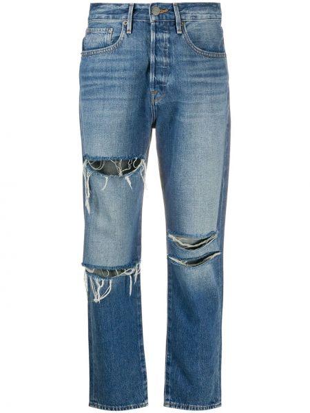 Хлопковые белые с завышенной талией джинсы с высокой посадкой с карманами Frame