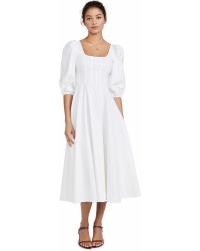 Льняное белое платье стрейч Staud