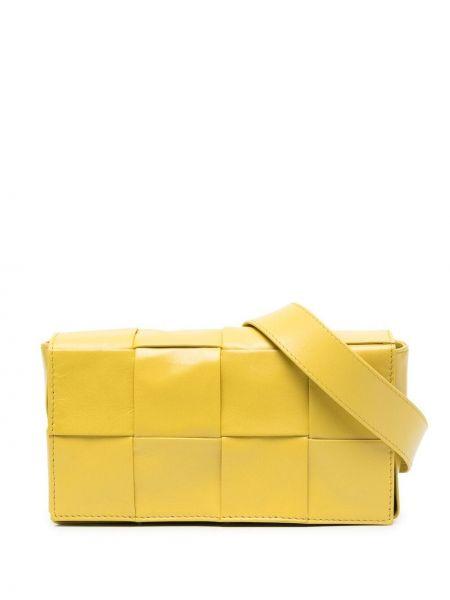 Żółty pasek skórzany z paskiem Bottega Veneta
