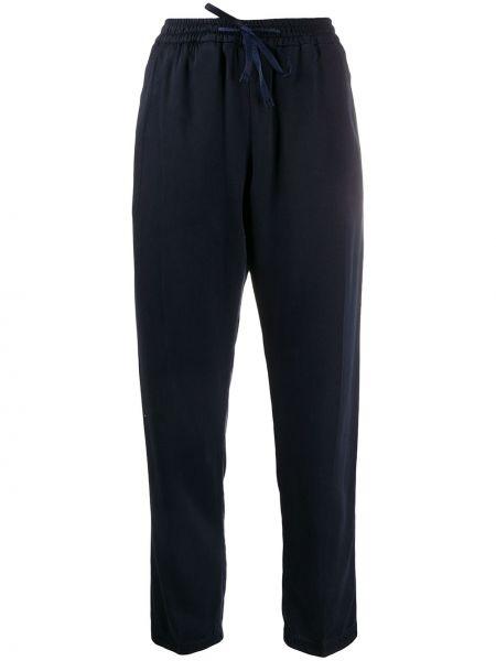 Хлопковые синие прямые укороченные брюки на шнурках Boss Hugo Boss