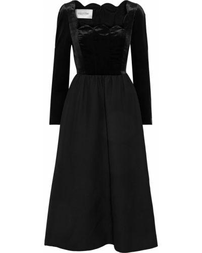 Бархатное платье миди - черное Valentino