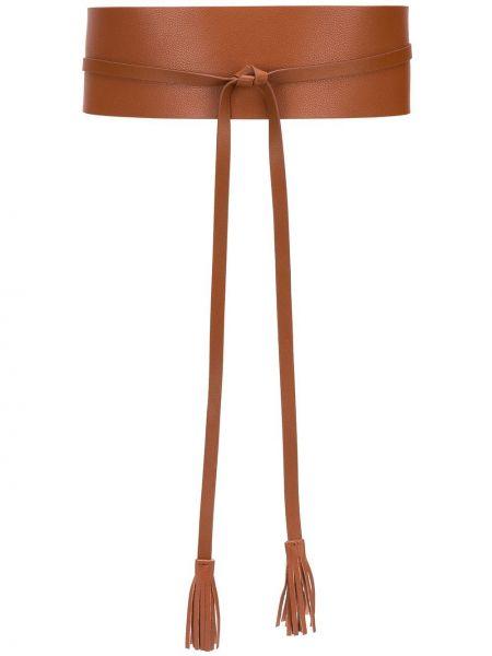 Коричневый кожаный ремень с поясом Twin-set