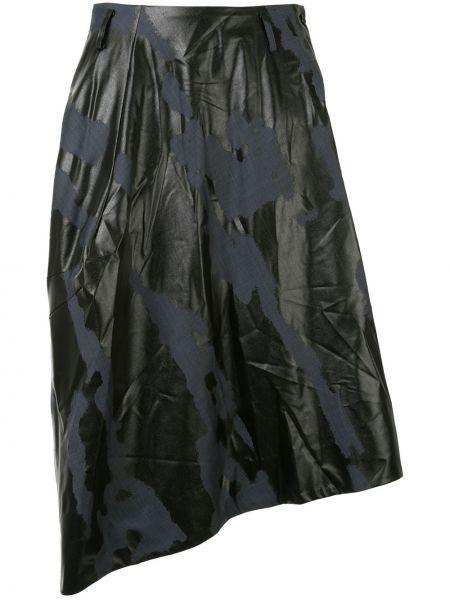 Wełniany czarny asymetryczny spódnica z paskiem Comme Des Garcons Homme Plus