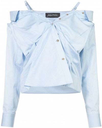 Блузка с открытыми плечами синяя Anna October