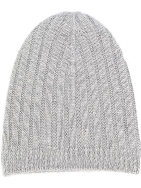 Облегченная серая кашемировая шапка бини в рубчик Holland & Holland