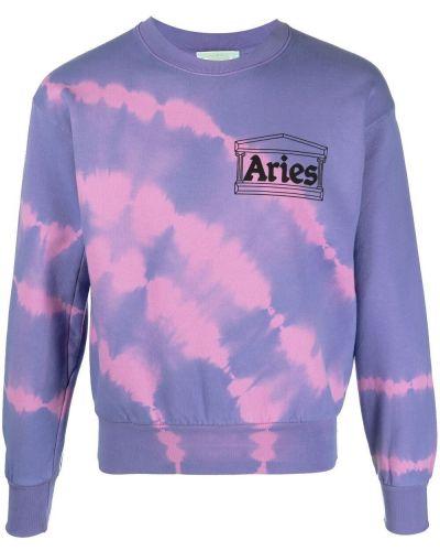 Хлопковая фиолетовая толстовка с вырезом Aries