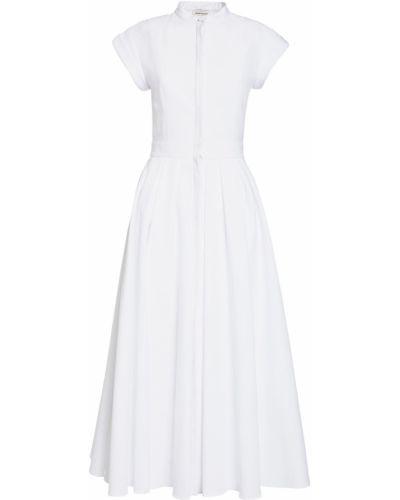 Приталенное плиссированное платье миди с воротником с короткими рукавами Alexander Mcqueen