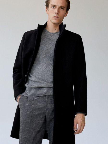 Шерстяное пальто с воротником с карманами Mango Man