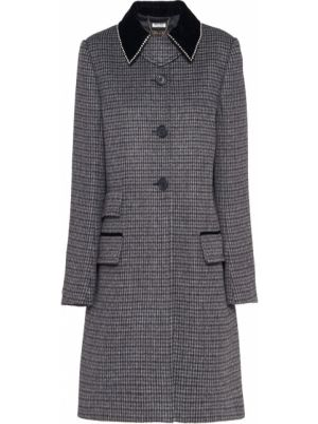 Серое шерстяное пальто с воротником на пуговицах Miu Miu