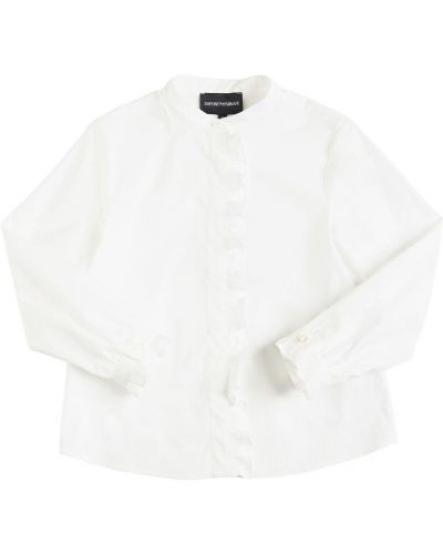 Biała koszula bawełniana z haftem Emporio Armani