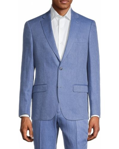Прямой льняной синий костюм Tommy Hilfiger
