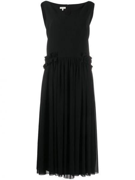 Czarna sukienka długa z jedwabiu bez rękawów Delpozo