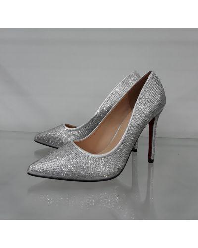 Туфли на каблуке - серебряные Loretta