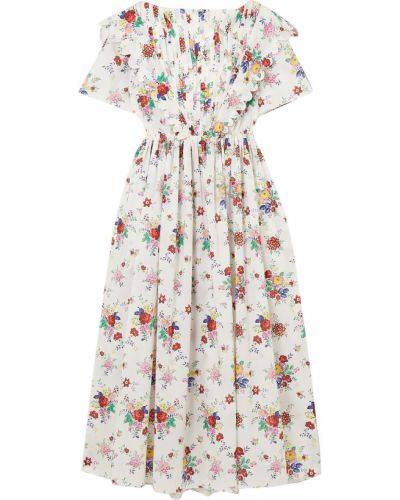 Biała sukienka midi koronkowa bawełniana Horror Vacui